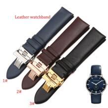 Для Ar темно-синие кожаный ремешок для часов Rosegold развертывания Бабочка застежка 20 мм 22 мм для кварцевые часы гладкой натуральной кожи новые zhuolei 32342486760