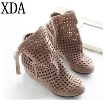 XDA/Большие размеры 34-43, женские летние сапоги на плоской подошве, на скрытой танкетке, с вырезами, женские сапоги, женская модельная повседневная обувь, Лидер продаж, милая флоковая обувь No name 32385373964