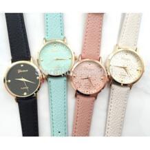 Дейзи вырезать лицо часы наивысшего качества женские кожаные винтажные часы-браслет Мода Женева часы No name 32319390251
