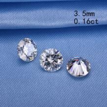 Тесты положительный 3,5 мм 0.15ct круглой формы gh цвета moissanites свободные камень syn бусины для обручальных колец около белого цвета mozanit No name 32672410995