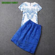 Лето 2017 г. Элегантный синий органзы фарфор печати S-2XL комплект из двух предметов короткий рукав блузка Для женщин леди юбка костюмы grubyhou No name 1967414681