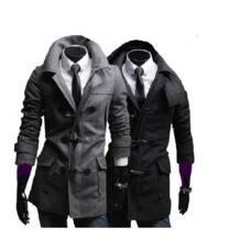 Мужская Зима рог Кнопку С Капюшоном Шерстяной мужской Куртки Пальто Серый/Черный M-XL Santorini Island 32810748022