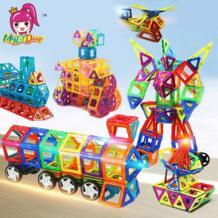115 шт. городской грузовик робот Магнитные Детские конструкторы осветить Diy блоки конструктора детские развивающие игрушки подарок для мальчиков MylitDear 32799451060