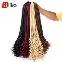 Silike 20 дюймов богиня Faux locs кудряшки 24 корня/упаковка искусственные замки синтетические крючком плетение волос No name 32832311844