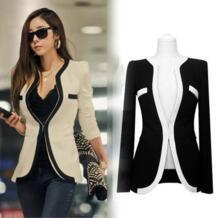 С длинным рукавом черный белый Модные Куртки женщин пиджаки Пальто для будущих мам одной кнопки v-образным вырезом Женская рабочая одежда для офиса jaqueta feminina No name 2042491522