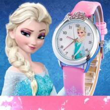 2019 предпродажа Новый Детские часы с рисунком из мультфиломов Принцесса Эльза часы Anna модная одежда для девочек Дети Студент милые кожаные кварцевые наручные часы CYD CHAOYADA 32750328906