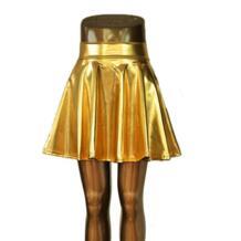 Бесплатная доставка женские сексуальные Клубные танцевальные юбки skater Расклешенная юбка выше колена мини-юбка металлик жидкий Золотой Серебристая юбка S/M/L/XL Dissimilar 32282406695