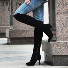 ORCHA LISA/Большие размеры 34-47 модные сапоги до колена на высоком каблуке Женская обувь из лакированной кожи брендовые дизайнерские пикантные сапоги с острым носком RH541 No name 2022298850
