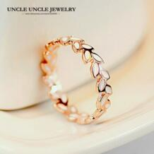 Роза Золотая эмаль листьев Греция Olive Branch Дизайн кольцо на палец для леди оптом модные аксессуары No name 573272256