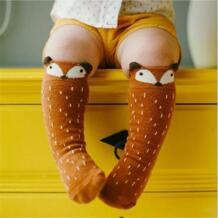 1 пара унисекс симпатичный милый мультяшный Fox Kids Детские Носки до колена для девочек и мальчиков детские носки для малышей с изображением животных мягкий хлопковый для младенцев Носки от 0 до 3 лет MUPLY 32842190489