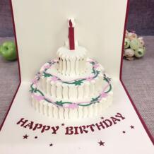 1 шт. пример с днем рождения Почтовые открытки поздравительные подарочные карты Крафт-Киригами 3D ручной работы всплывающие лазерная резка Винтаж торт с конверт sweet made 32811336258
