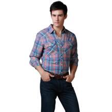 WOW! Брендовые ковбойские рубашки мужчины с длинным рукавом в западном стиле модные футболки из 100% хлопка в клетку Размер США мыть мягкой Высокое качество новых продаж No name 678517387