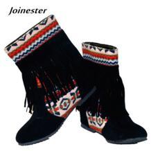 Женские ботильоны на весну-осень, любимый китайский национальный стиль, с бусинами в богемном стиле и кисточками, на резиновой подошве, с круглым носком, повседневная обувь Joinester 32484859716