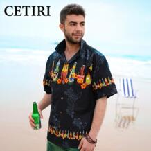 Новый Летний стиль Для мужчин рубашка цветочный гавайская рубашка хлопковые пляжные большой Размеры короткий рукав Гавайи рубашка Для мужчин s Лето Камиза Masculina CETIRI 32658093906