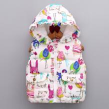 Дети девочки осенне-зимний стиль мультфильм животных куртки с капюшоном парки с ГРАФИТИ Верхняя одежда Пальто из полиэстера жилет для девочек Kacakid 32823759067