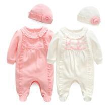 Новорожденных для маленьких девочек хлопок рюшами Ползунки для малышек 1 часть общего с Кепки 2018 Новинка весны красный розовый Одежда для новорожденных девочек родился 3 м 6 м 1 т подарок No name 32846455111