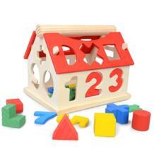 Малыш Новый Красочный мини деревянный обучающий дом строительные блоки номер письмо Английский Обучение Образование игрушки для детей подарок для малышей No name 32861986342