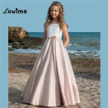Детская для девочек в цветочек платья атласные платья для первого причастия для девочек 2018 вечерние платье для причастия пышные платья 2018 Lowime 32898826230