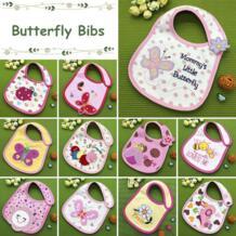 Новые детские хлопковые непромокаемые нагрудники с милыми бабочками для девочек, милые слюны для птиц, детские нагрудники No name 32857233014