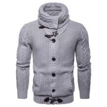 Новый дизайн кардиган Трикотаж Европа и Америка однобортный свитер пальто для мужчин осень Кнопка эластичный вязаный мужской AOWOFS 32896309923