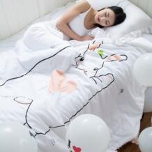 Кролик печати летом одеяло, белый мультфильм стеганые покрывала, полиэстер одеяло для дома постельные принадлежности, мульти-размер взрослых одеяло для кровати No name 32812883069