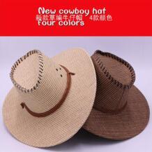 Повседневная модная соломенная шляпа солнцезащитный крем для мужчин анти-Западный ковбойский пляжный козырек шляпа с защитой от воздействия УФ-излучения No name 32867556737