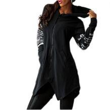 Для женщин Повседневное Письмо печати с длинным рукавом на молнии пуловер с капюшоном топы с капюшоном SANWOOD 32706670747