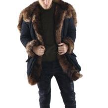 Осенне-зимняя теплая куртка человек пальто с искусственным мехом с зима искусственного меха лисы модное пальто и Куртки schwarzen pelzmantel Бесплатная доставка HimanJie 32738523842