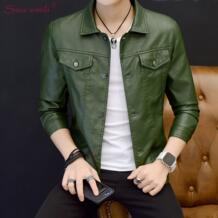 2018 Зеленая кожаная куртка человек черный блейзер Moto пальто куртки куртка Uomo пальто jaqueta de couro Искусственная кожа Souomili 32835224420