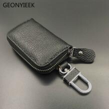 Натуральная кожа кожаный брелок для ключей, брелок для ключей для мужчин Организатор ключей экономки Для женщин брелок чехлы кейс на молнии сумка бумажник кошелек GEONYIEEK 32832168336
