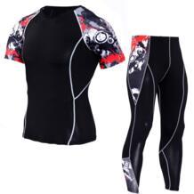 Спортивный костюм для мужчин 2018 crossfit ММА опрометчивого мужская облегающие одежда с короткими рукавами футболки Леггинсы сжатия шорты Day south valley 32838892166