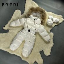 Детский Теплый Зимний комбинезон на утином пуху, сиамская одежда для альпинизма, весенний детский плотный трико с длинными рукавами, детская одежда No name 32787168922
