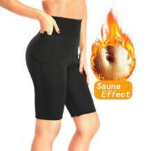 сауна для похудения брюки Горячая термо неопрен пот Капри жиросжигатель Корректирующее белье тренажер для фитнеса контроль Трусики потеря веса NINGMI 32832541787