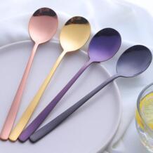 Металла корейский десертная ложка цвета: золотистый, серебристый Кофе ложка красочные Нержавеющаясталь матовая длинной ручкой ложка Черпак поварешка No name 32838181422