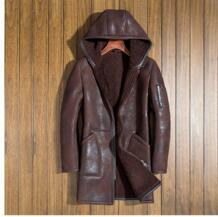 Итальянская мужская зимняя натуральная пальто из овчины Натуральная овечья кожа шерстяная подкладка с капюшоном шляпа мужская длинная куртка коричневый черный 4xl Huiling 32887655722