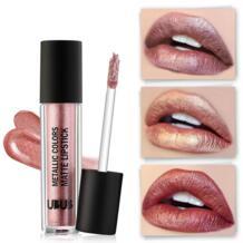 Марка новый оттенок губ Макияж для женщин водонепроницаемый длительный пигментная натуральная розовое золото блеск металлик блеск для губ, косметика UBUB 32831801287