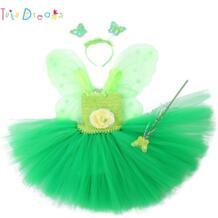 Tinkerbell/нарядное платье волшебной Феи для девочек на день рождения, платье принцессы Пикси для костюмированной вечеринки, платье-пачка с крыльями, пасхальный комплект одежды на заказ princess tutu 32391699572