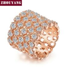 ZYR021 все звезды розовое золото цвет модное кольцо сделано из натуральных австрийских кристаллов полного размера ZHOUYANG 688286916
