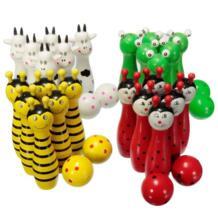Деревянный шар для боулинга в форме животных, игра для детей, детская игрушка, красный + зеленый + белый + желтый MUMIAN 32832566292