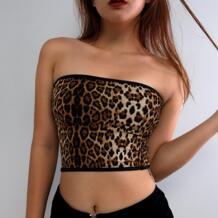 Женский сексуальный Топ без бретелек, короткий мини женский леопардовый принт, модный тонкий бандо для дам 2018, летний популярный женский топ vodiu 32887558868