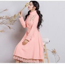 2019, новая мода осень зима однобортный шерстяное пальто для женщин тонкий воротник-стойка с вышивкой кружево сращены шерстяная куртка верхняя одежда Chimavvi 32773730344