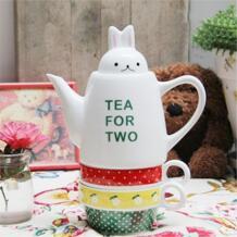 Милый маленький кролик голову крышка чай для двух керамический чайник с 2 чашки для отдыха английский послеобеденный чайный сервиз 3 перекрытия чашки горшок костюм No name 32702674264