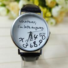 Часы женские часы 2017 браслет повседневные женские часы мужские, кожаный браслет I am Late в любом случае с буквенным принтом Relogio malloom 32318219121