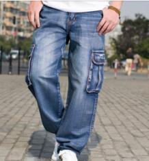 Мужские зимние свободные джинсы карго с широкими штанинами для мужчин, мешковатые джинсы в стиле хип хоп, джинсовые байкерские брюки с несколькими карманами, большие размеры 42, 44, 46 loose jeans for men jeans for men denim harem - AliExpress LIEBE MODE 32610672877