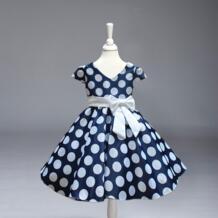 Продажа в розницу! Новое поступление, праздничное платье принцессы в горошек для девочек детское свадебное платье принцессы в крупный горошек с v-образным вырезом бесплатная доставка, L616 miqiaikids 32257451808