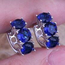 Конфеты Голубой цирконий 925 серебро Huggie Серьги-кольца для Для женщин s0230 SilverWar 1810708915