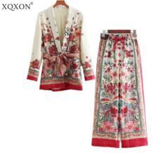 Женский костюм женский 2019 Ретро стиль цветочный узор Блейзер Европейский Стиль Повседневный праздник куртка + брюки костюмы пижамы XQXON 32886204535
