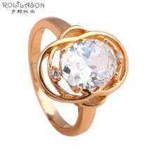 Лидер продаж! Великолепный стиль блестящие кольца Белый Кристалл Золото Тон AAA циркония Модные украшения Кольца США Размеры #7.5 #8 JR2028 No name 496817744