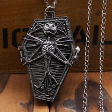 Античный Черный цвет кошмар перед рождественским гробом Дизайн Fob карманные часы с цепочки и ожерелья цепи для подарка YISUYA 32509991038