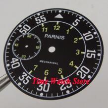 Парнис 38,9 мм черный циферблат двойной часовой пояс подходит для механические ETA 6497 Движение циферблате D103 No name 32823361314